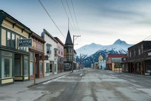 Tourism is the one — and only — industry in Skagway, Alaska, where the main thoroughfare, Broadway Street, above, is now empty.  Photo by Christopher Miller via The New York Times.