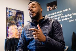 Former Stockton mayor Michael Tubbs in February 2020. The basic income program he championed is over, but a new study shows promising results.  Photographer: Nick Otto/AFP via Getty Images