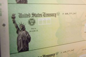 Stimulus checks being printed in 2008. Jeff Fusco/Getty Images