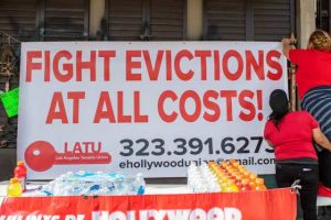 Protest against evictions on Feb. 8, 2021, in Hollywood, California. Valerie Macon/AFP via Getty Images