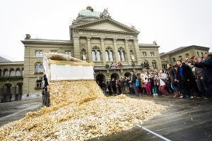 Swiss basic income protest, 2013. Photo by Stefan Bohrer – CC BY 2.0.
