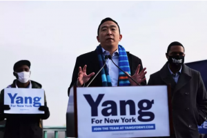 Andrew Yang, who is running for New York mayor, speaks at a press conference on January 14. Michael M. Santiago/Getty