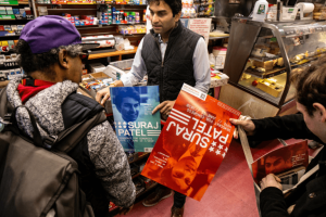 On a recent February Monday morning, Suraj Patel canvassing at a Deli on the corner of Avenue B and 10th Street in the East Village.