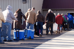 The Southeast Missouri Food Bank has seen the number of people coming to food pantries and mobile food distribution sites increase as much as three times since the pandemic began. Counties in southeast Missouri have some of the highest rates of food stamp applications in the state. (Photo courtesy of Southeast Missouri Food Bank.)