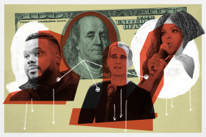 California cities are leading the charge pushing to explore guaranteed basic income programs. Left-to-right: Former Stockton Mayor Michael Tubbs, Los Angeles Mayor Eric Garcetti, Compton Mayor Aja Brown. (Illustration by Al Kamalizad for LAist. Photos from Getty Images.)
