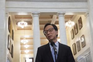 Sen. Yuen Pau Woo is shown n the foyer of the Senate in Ottawa.  PHOTO BY ADRIAN WYLD /THE CANADIAN PRESS