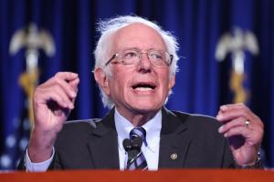 Sen. Bernie Sanders speaks at an event. | Win McNamee/Getty Images