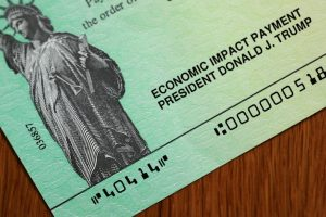 One of the coronavirus economic assistance checks that were sent to citizens across the country April 29, 2020 in Washington, D.C. A Change.org petition calling for recurring $2,000 stimulus checks has surpassed 2.25 million signatures.  Chip Somodevilla/Getty Images