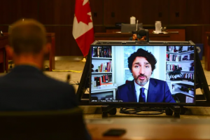 Prime Minister Justin Trudeau appears as a witness via videoconference during a House of Commons finance committee in the Wellington Building