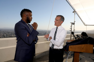 LA Mayor Eric Garcetti with Michael Tubbs, founder of Mayors for a Guaranteed Income, after LA mayor announced plan to launch the largest UBI experiment in the nation