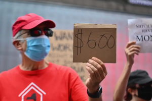 Protesters in New York City in August demand economic relief during the coronavirus pandemic. Angela Weiss/AFP via Getty Images