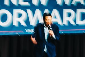 """We need to human up and stop focusing on relatively trivial distinctions,"" Andrew Yang says. Christopher Lee for The New York Times"